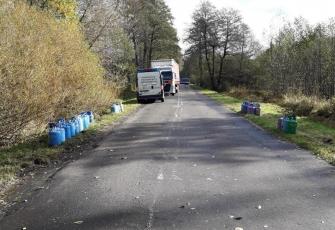 WITD – z pojazdu ciężarowego w czasie jazdy wypadły 64 butle z gazem propan-butan 1