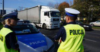 Policja Kontrola ciężarówka