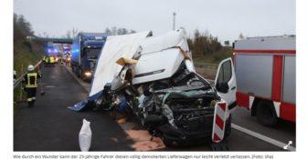 Wypadek Niemcy Ogromne szczście polaka