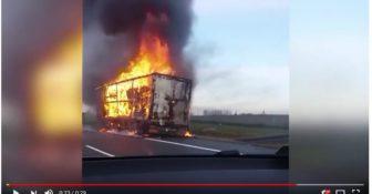 Pożar naczepy autostrada A1 0
