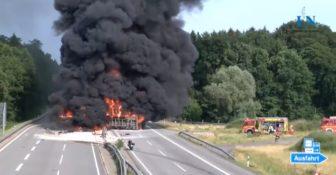 Polska ciężarówka stanęła w ogniu na A24 w Niemczech