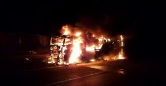 Niemcy – ciężarówka z Polski spłonęła doszczętnie na A7