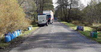 WITD – z pojazdu ciężarowego w czasie jazdy wypadły 64 butle z gazem propan-butan