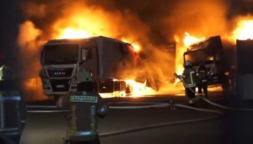 Niemcy – spłonęły 4 ciężarówki – policja zakłada podpalenie i prosi świadków o pomoc f2